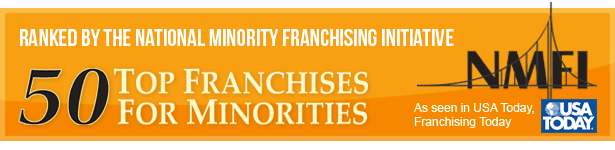 Ranked by the National Minority Franchising Initiative in top 50 franchises for minorities, as seen in USA Today